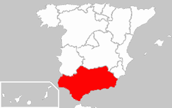 kort over Andalusien, Spanien